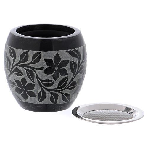 Bruciaincenso in pietra ollare nero e grigio fiori h.8 cm 2