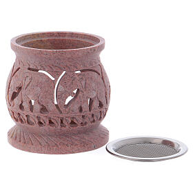 Incense burner in pink marbled soapstone with elephants h 3 1/4 in s2
