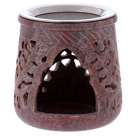 Incense burner in pink marble soapstone plant decoration h 4 in s1