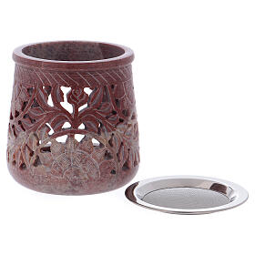 Incense burner in pink marble soapstone plant decoration h 4 in s2