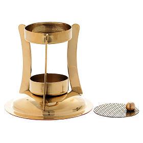Bruciaincenso stile moderno ottone dorato lucido s2