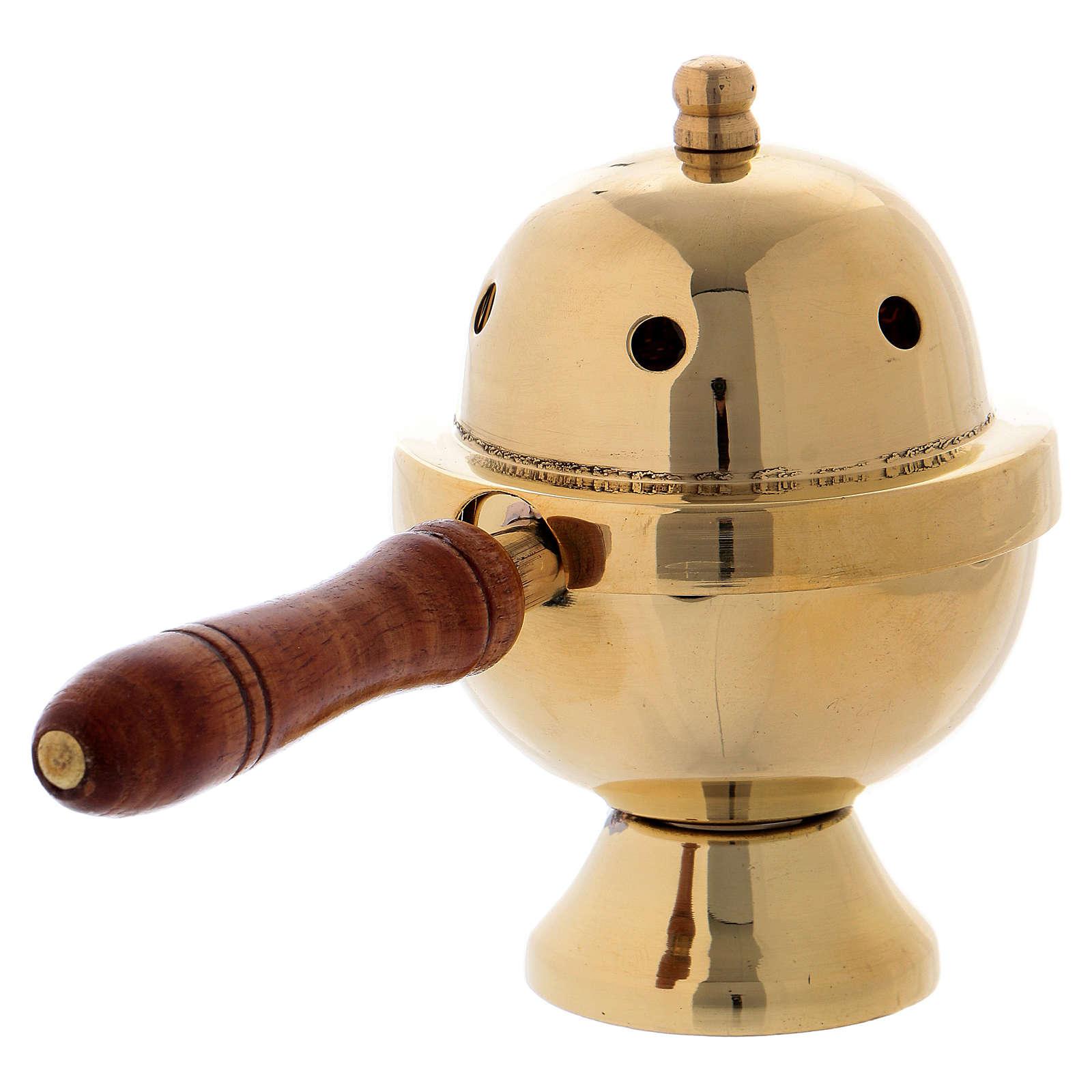 Bruciaincenso ottone dorato e manico in legno h 11 cm 3