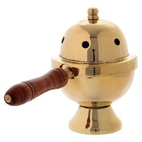 Bruciaincenso ottone dorato e manico in legno h 11 cm s3