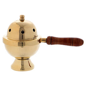 Gold plated brass incense burner with wood handle h 4 1/4 in s1