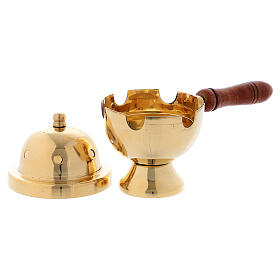 Gold plated brass incense burner with wood handle h 4 1/4 in s2