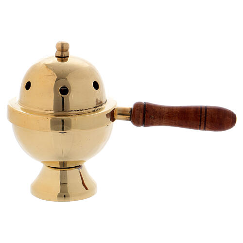 Gold plated brass incense burner with wood handle h 4 1/4 in 1