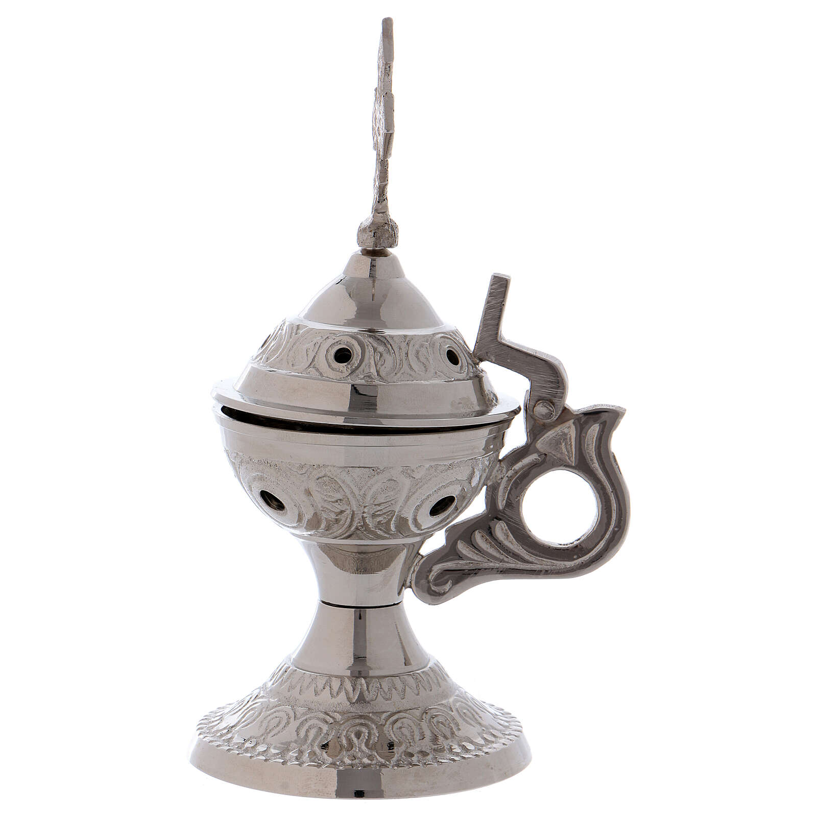 Silver-plated brass incense burner cross with handle 3