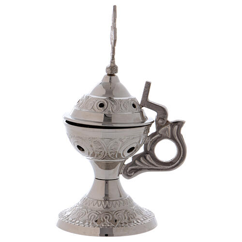 Silver-plated brass incense burner cross with handle 2