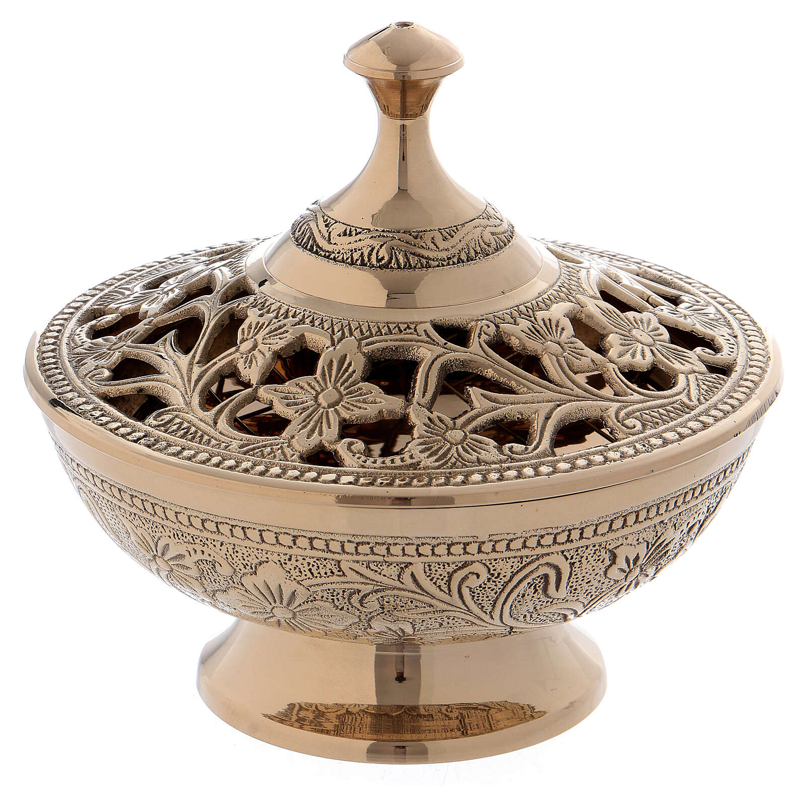 Burning incense with decorations and floral carvings in golden brass 3