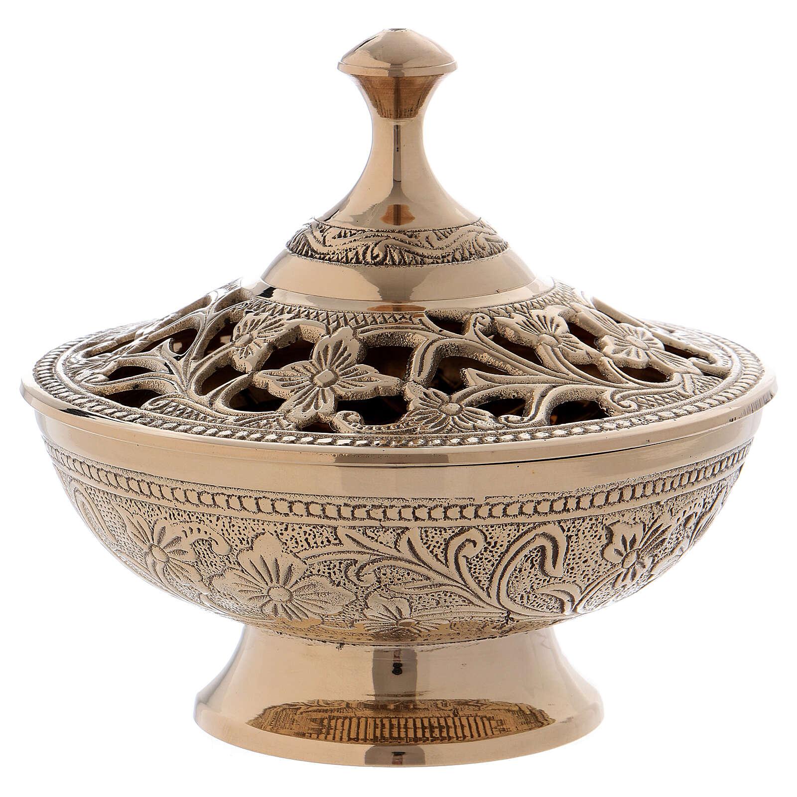 Queimador incenso decorações e entalhes florais latão dourado 3
