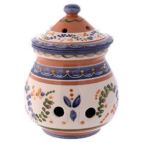Brûle-encens haut en terre cuite Deruta style rustique 15x10x10 cm s1