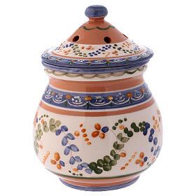 Brûle-encens haut en terre cuite Deruta style rustique 15x10x10 cm s3