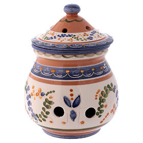 High incense burner of Deruta terracotta country style 7x4x4 in s1