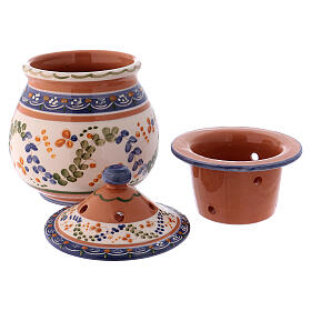 High incense burner of Deruta terracotta country style 7x4x4 in s2