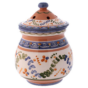High incense burner of Deruta terracotta country style 7x4x4 in s3