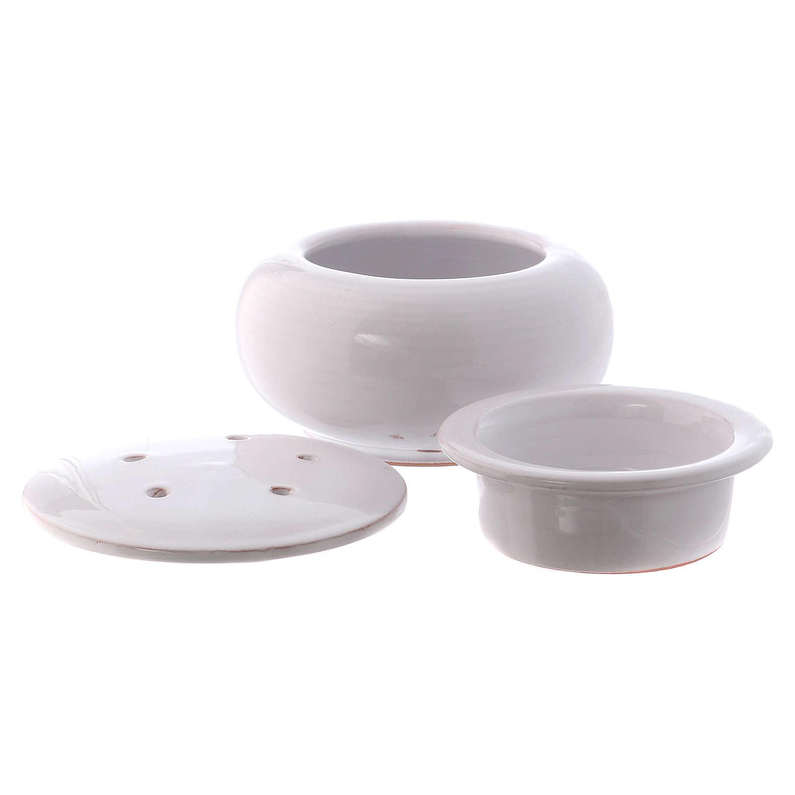 Pebetero bajo cerámica Deruta pintada de blanco 10x10x10 cm 3