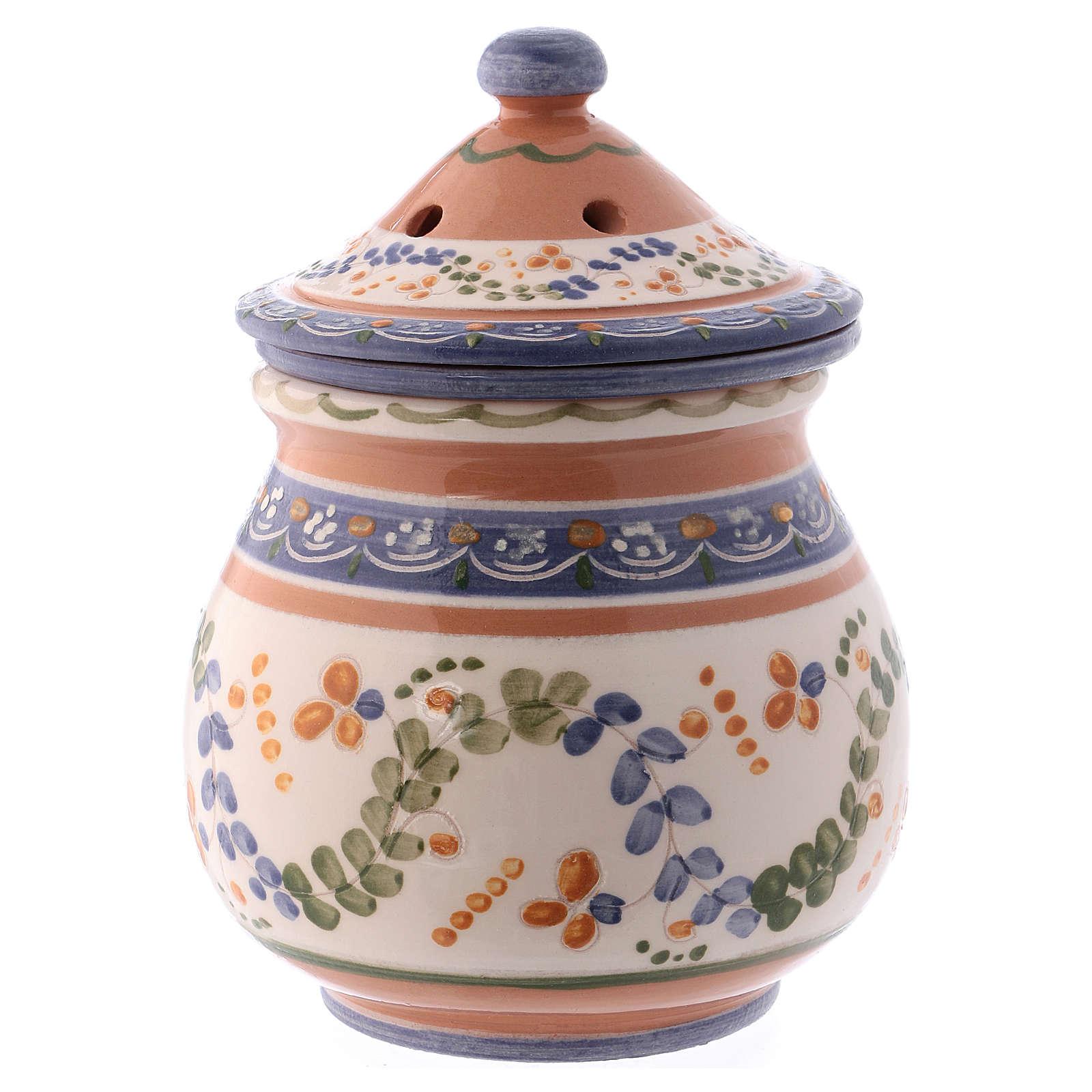 Bruciaincenso basso ceramica Deruta dipinta in bianco 10x10x10 cm 3