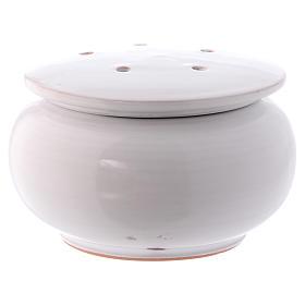 Bruciaincenso basso ceramica Deruta dipinta in bianco 10x10x10 cm s1