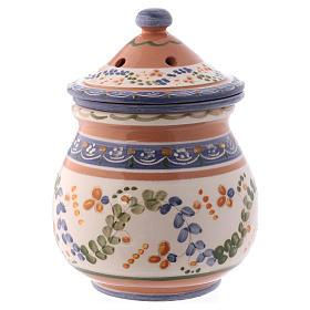 Bruciaincenso basso ceramica Deruta dipinta in bianco 10x10x10 cm s3