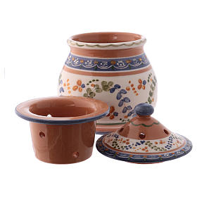 Bruciaincenso basso ceramica Deruta dipinta in bianco 10x10x10 cm s4
