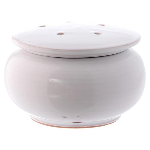 Bruciaincenso basso ceramica Deruta dipinta in bianco 10x10x10 cm 1