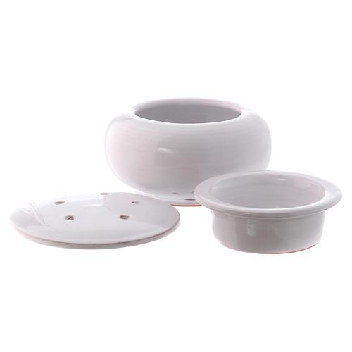Bruciaincenso basso ceramica Deruta dipinta in bianco 10x10x10 cm 2