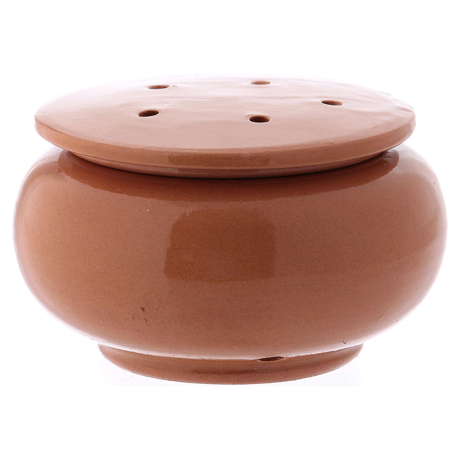 Pebetero de terracota cristalizado marrón Deruta 3