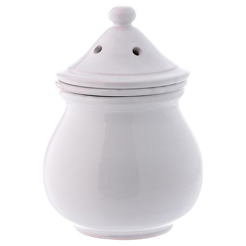 Incense burner in white terracotta made in Deruta 1