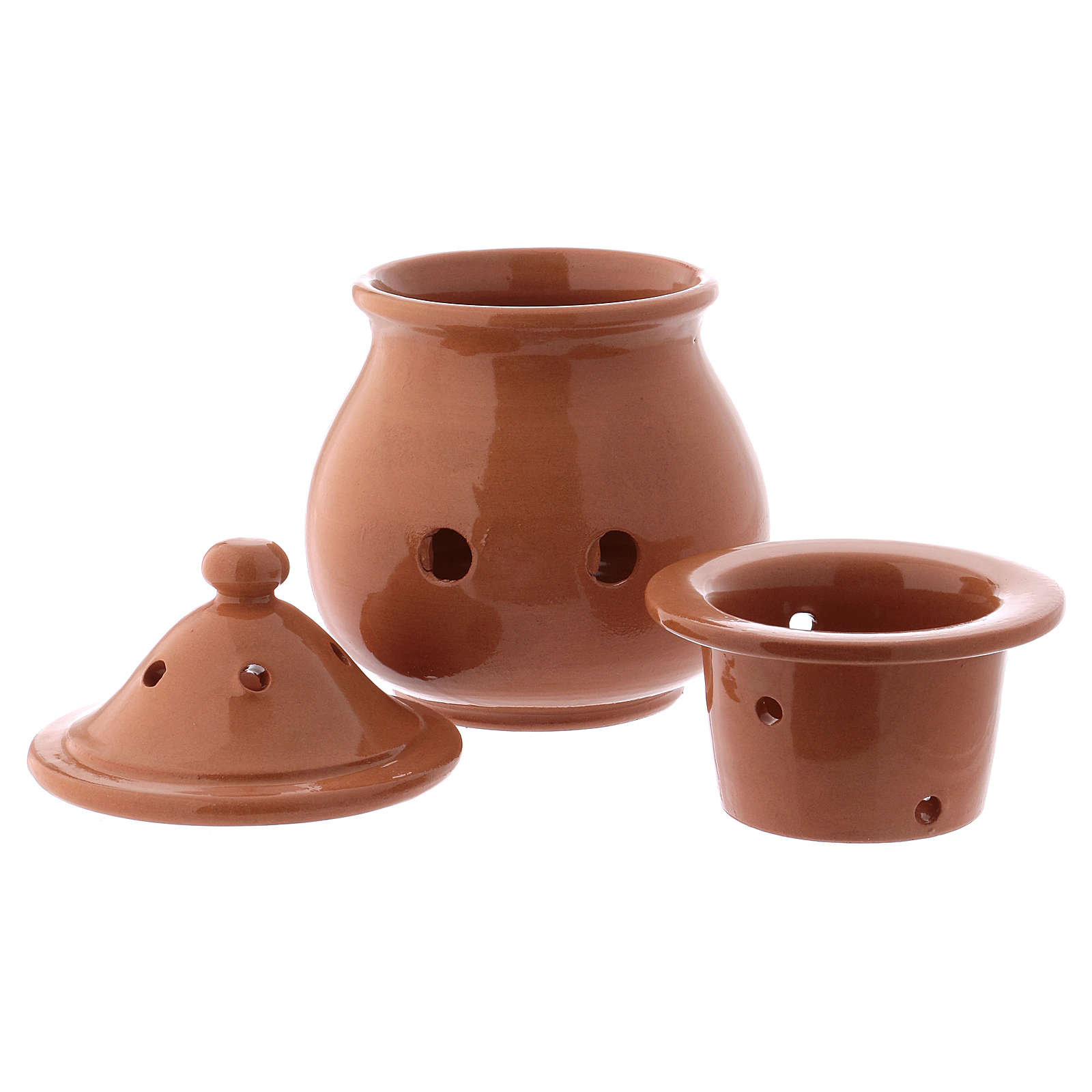 Incense burner in brown terracotta made in Deruta 3