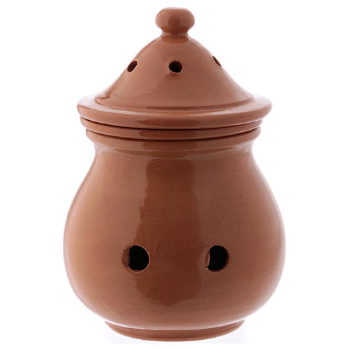 Incense burner in brown terracotta made in Deruta 1