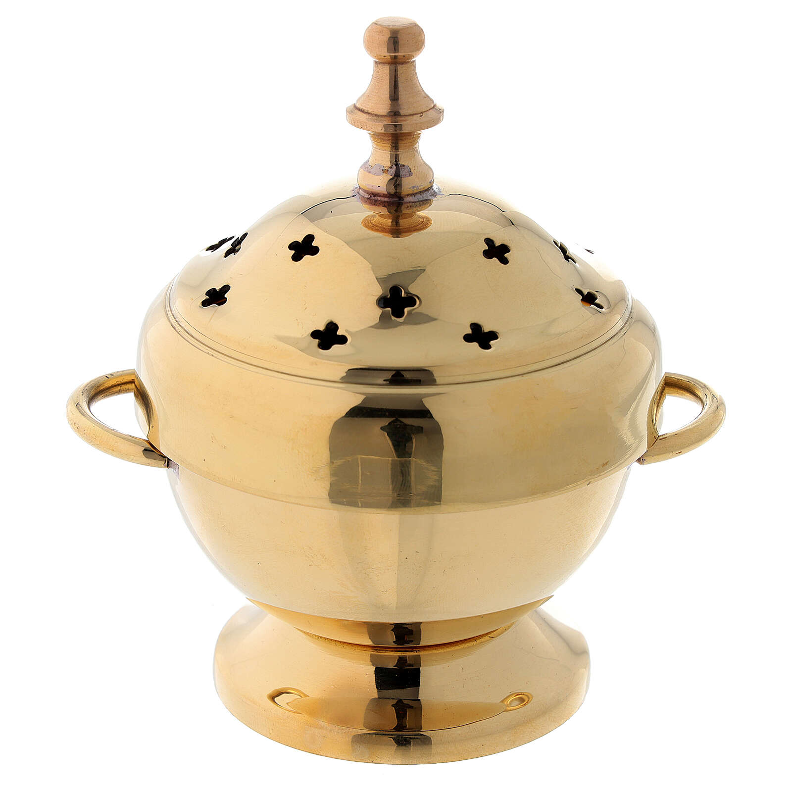 Burning incense in golden brass with cross-shaped holes 11 cm 3