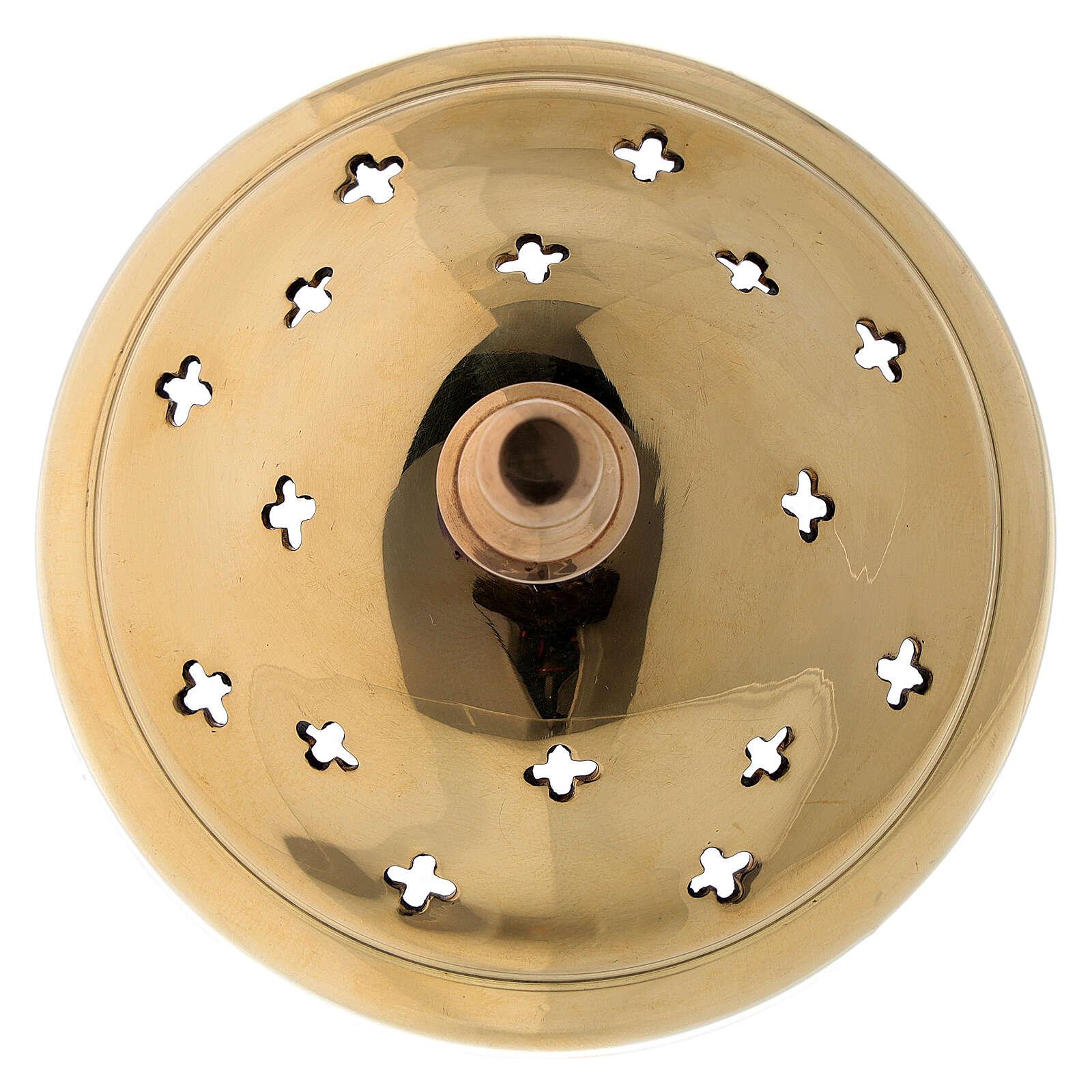 Pebetero latón dorado agujeros en forma de cruz 11 cm 3