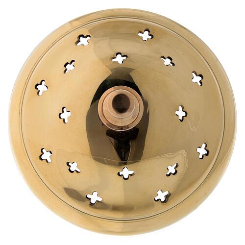 Pebetero latón dorado agujeros en forma de cruz 11 cm 4