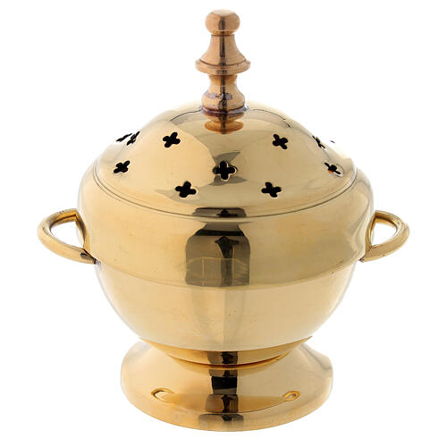 Gold plated brass incense burner cross shaped holes 4 1/4 in 1
