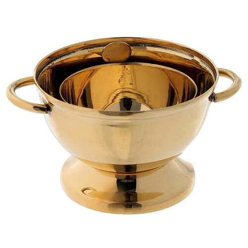 Gold plated brass incense burner cross shaped holes 4 1/4 in 3