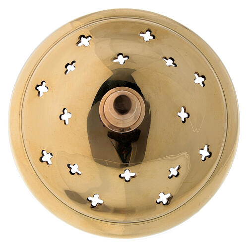Gold plated brass incense burner cross shaped holes 4 1/4 in 4