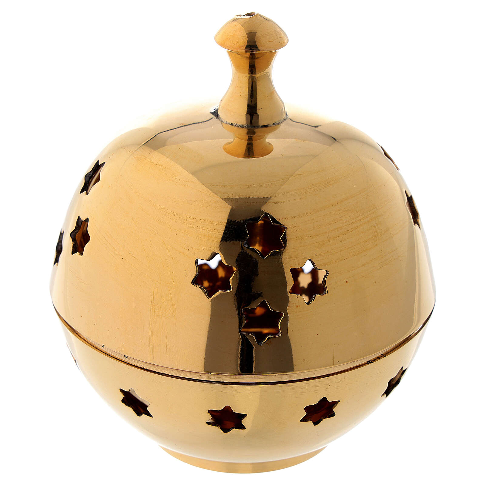 Incense burner with round cup and star shaped holes diameter 3 in 3