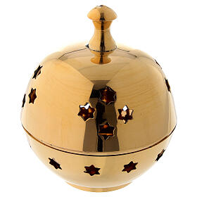 Incense burner with round cup and star shaped holes diameter 3 in s1