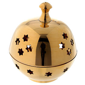 Incense burner with round cup and star shaped holes diameter 3 in s3