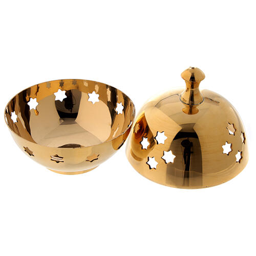 Incense burner with round cup and star shaped holes diameter 3 in 2