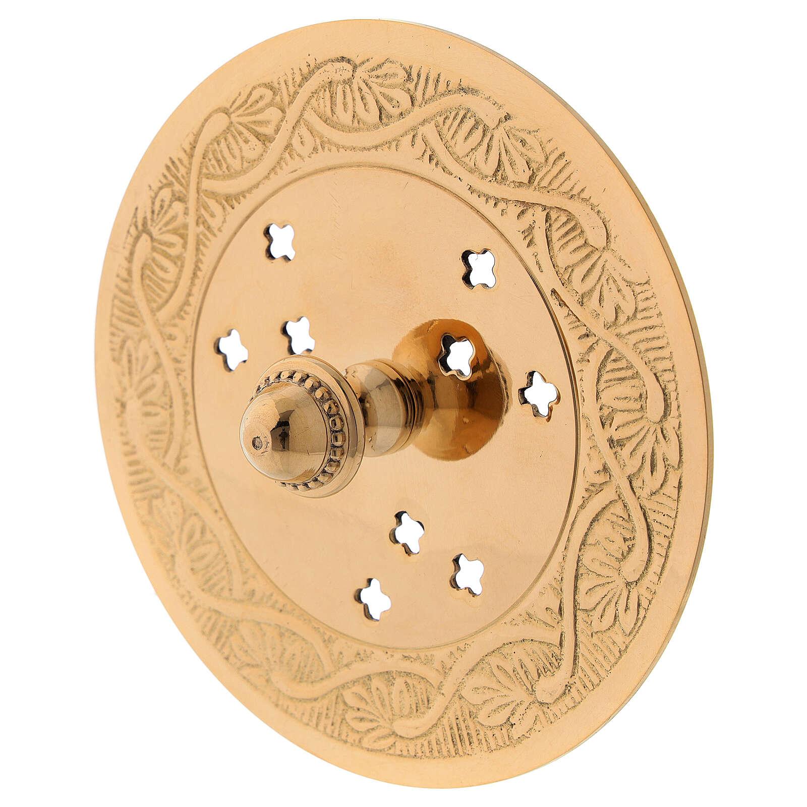 Bruciaincenso piatto ottone dorato inciso diametro 10 cm 3