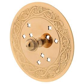 Bruciaincenso piatto ottone dorato inciso diametro 10 cm s4