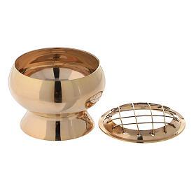 Pebetero con tamiz latón dorado diámetro 7 cm s2