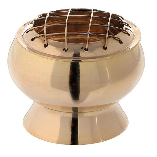 Bruciaincenso con setaccio ottone dorato diametro 7 cm 1