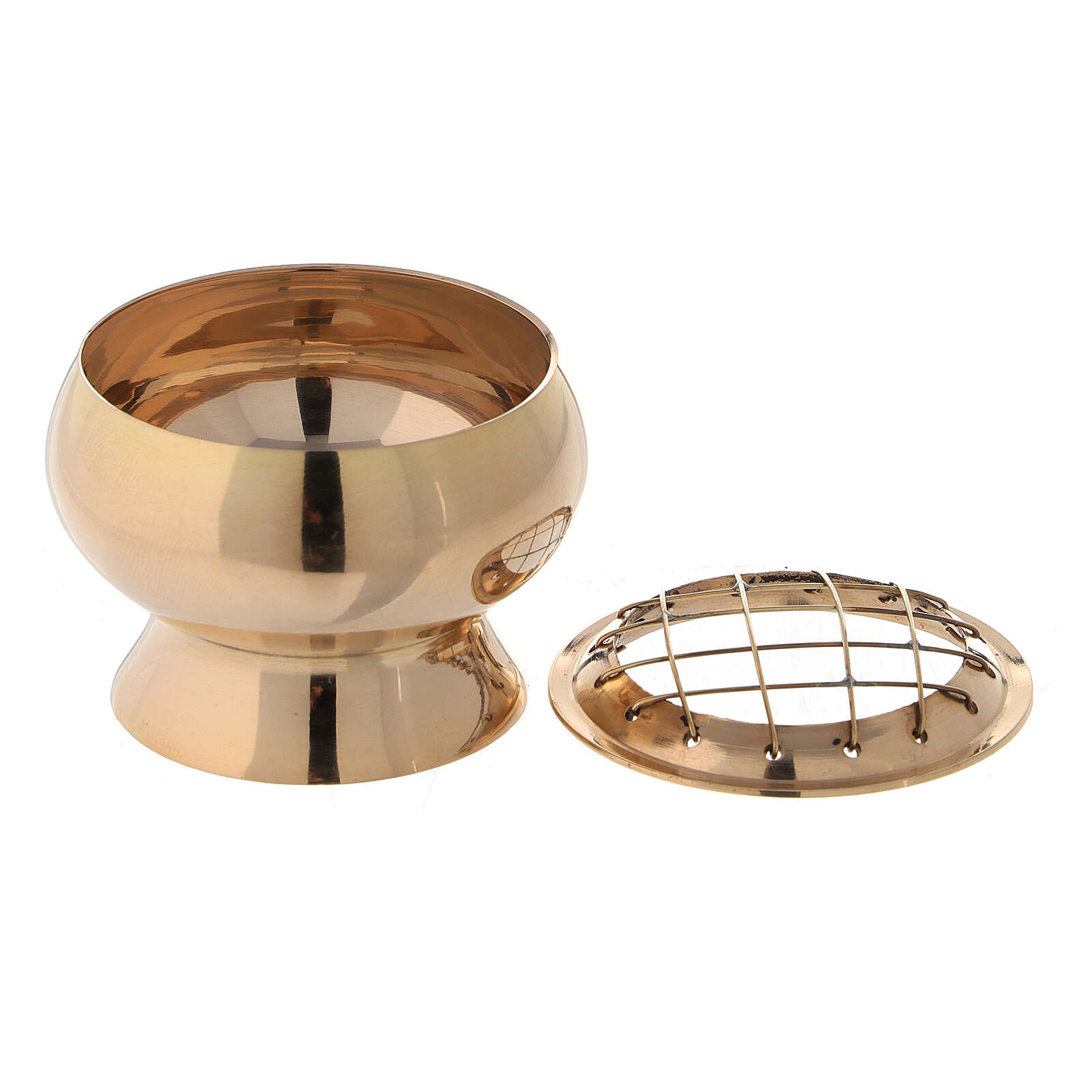 Incense burner with net in gold plated brass diameter 2 3/4 in 3