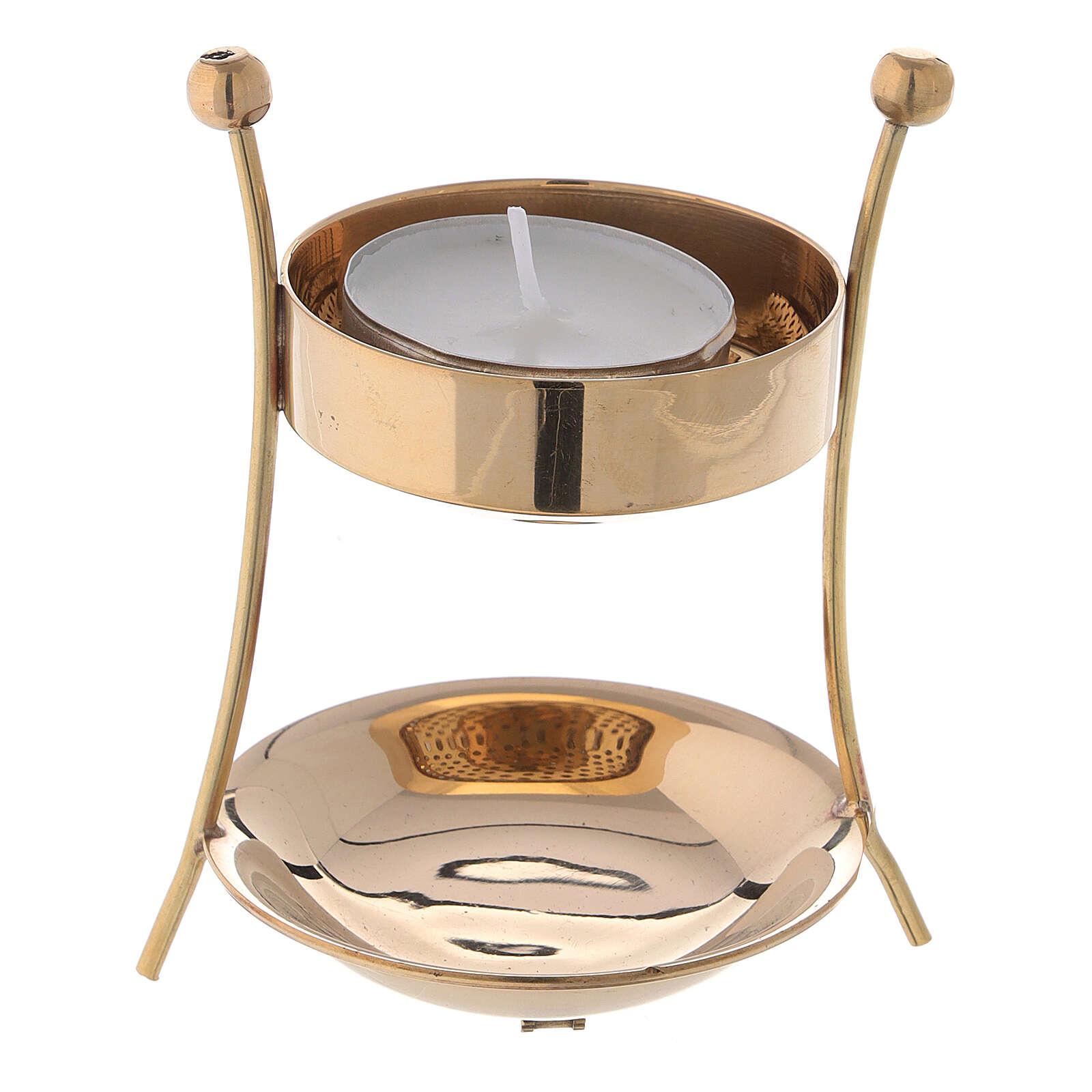 Bruciaincenso con candela ottone altezza 9 cm 3