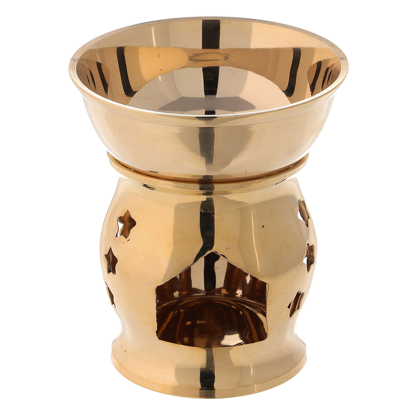 Gold plated brass incense burner stars h 4 in 3