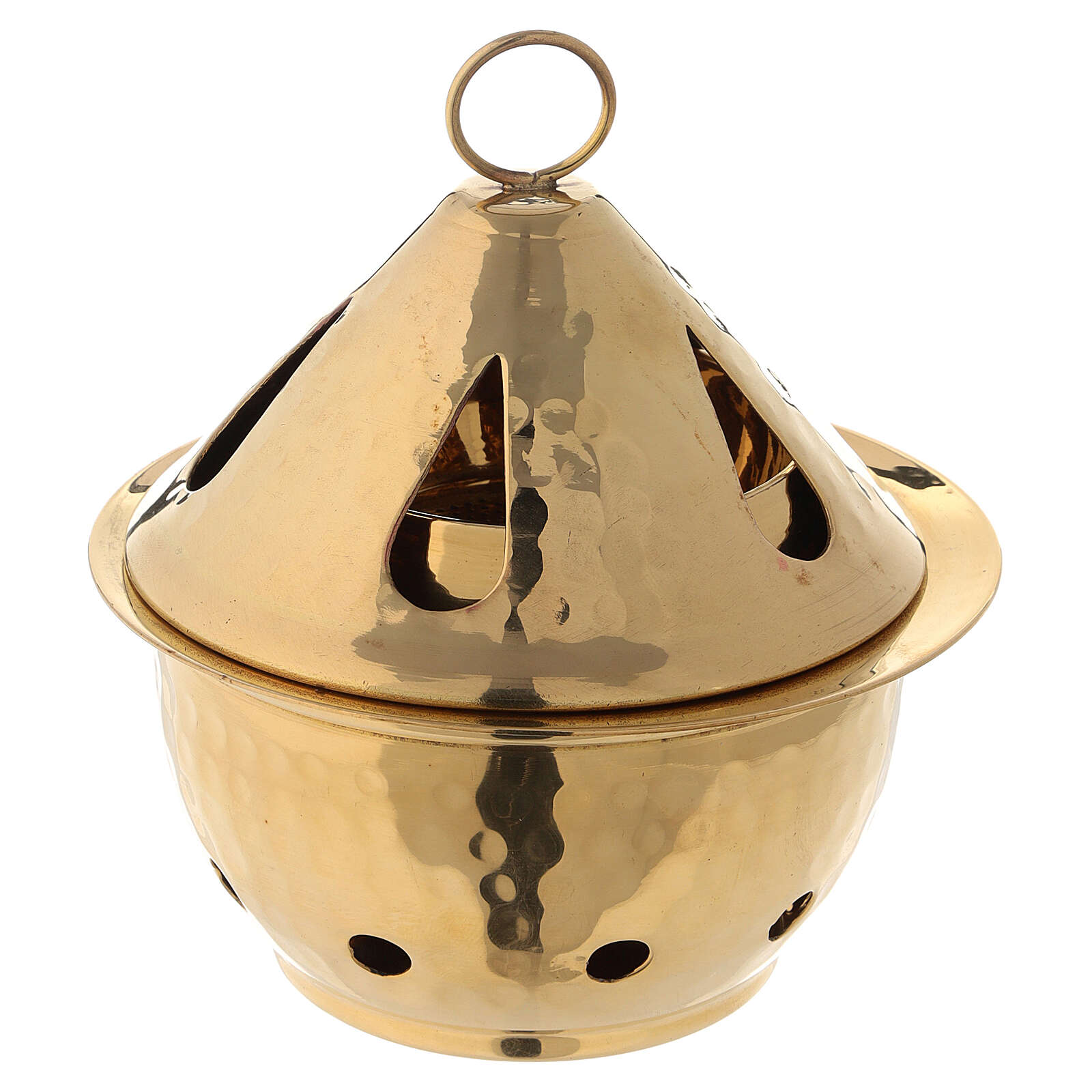 Pebetero latón dorado martillado gota h 13 cm 3
