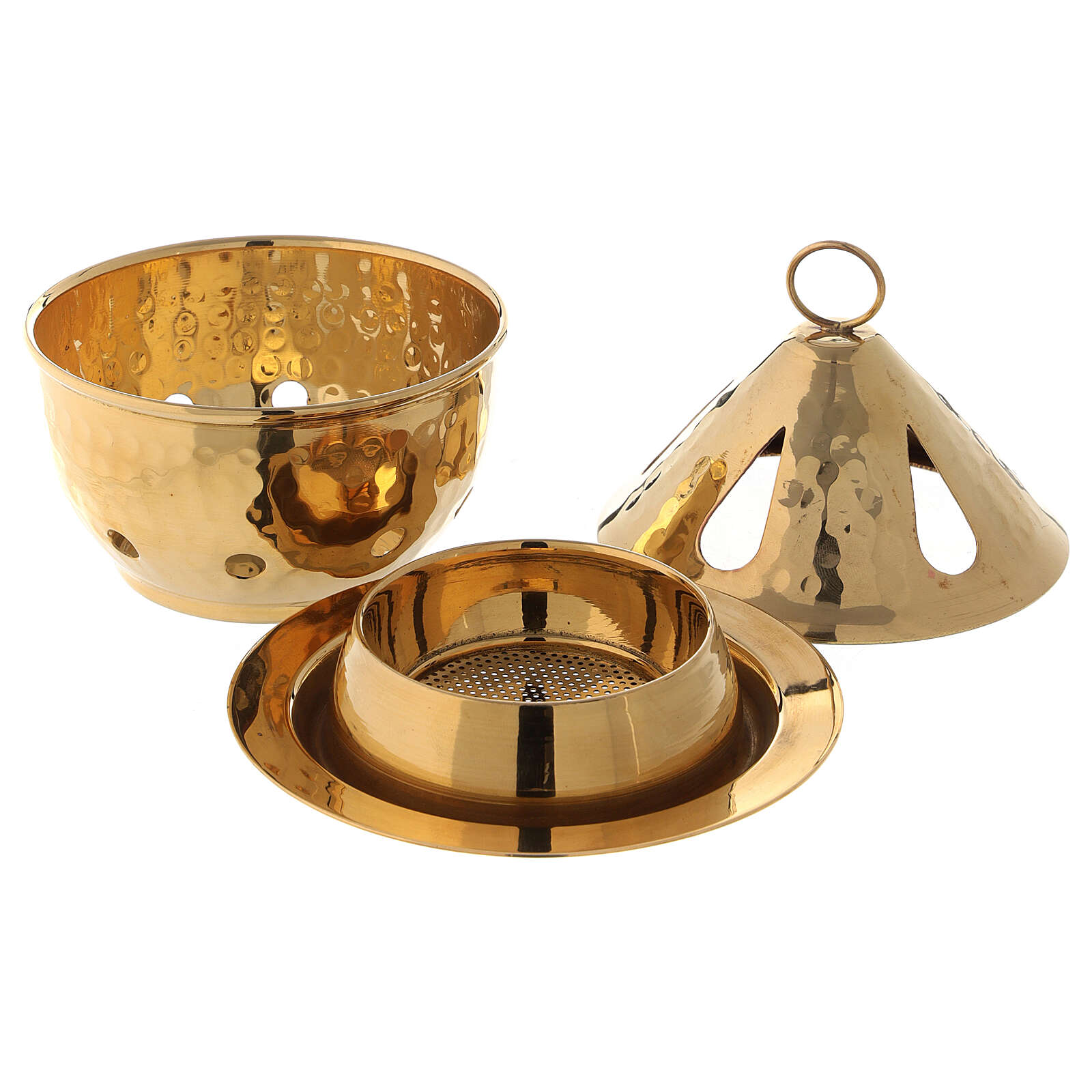 Hammered incense burner in gold plated brass drop shaped h 5 in 3