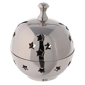 Spherical incense burner in nickel-plated brass star shaped holes 3 in s1